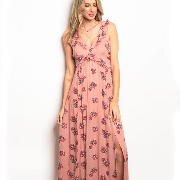 ba9d2a848f806 Closet Dresses | Blush Ruffle Floral Maxi Dress | Poshmark